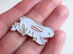 Hopping Bunny Enamel Pin : Illustrated Cute Animal Lapel Pin / rose gold, mint, peach