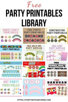Party With Unicorn Freebie Library Information Birthday Party Games For Kids, Free Birthday, Birthday Banners, Birthday Party Themes, Birthday Ideas, Lego Birthday, Girl Birthday, Free Printable Birthday Invitations, Party Printables