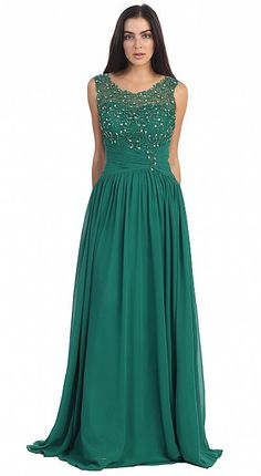 Round Neck Lace Beaded Bodice Long Formal Prom Dress p8816
