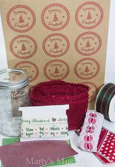 Season's Greetings Round Brown Kraft Jar Labels