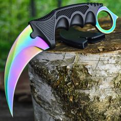 TACTICAL COMBAT KARAMBIT NECK KNIFE Survival Hunting BOWIE Fixed Blade RAINBOW…