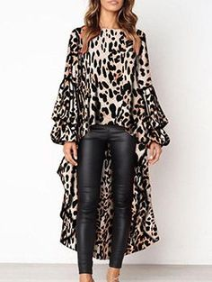 PickYourLook Leopard Print Long Sleeve Ladies Tops Irregular Ruffles Shirts Womens Tops and Bouses Blusas Mujer De Moda Blouse Leopard Print Outfits, Leopard Blouse, Leopard Top, Leopard Print Shoes, Leopard Print Top, Cheetah, Look Fashion, Womens Fashion, Winter Fashion