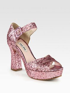 Miu Miu - Glitter Crisscross Platform Sandals -  I just love these, but don't really have any where to wear them ....