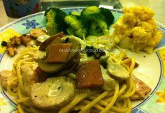 Home cook white sauce spaghetti