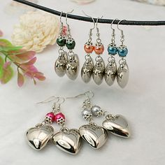 Fashion Glass Pearl Earrings for Valentine's Day, with CCB Acrylic Pendants
