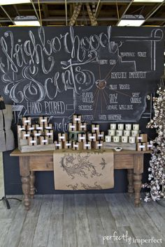 #ChalkArt wall display and custom #handlettering #illustration project for Perfectly Imperfect's Neighborhood Scents Candle Line.  www.counterpartbd.com