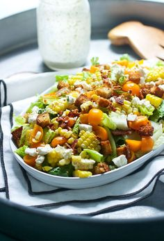Chopped Summer Salad with Spicy (Light) Buttermilk Ranch - Cooking for Keeps