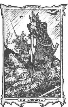 King Arthur's last battle and death at the hands of Mordred.