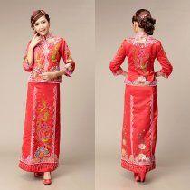 Chinese traditional Red dress,Hand-Beaded Dragon and Phoenix Qungua (Kwaqun) [YA5213] - US$268.00