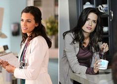 Torrey DeVitto as Melissa Hastings on the right, Dr. Meredith Fell on the left.