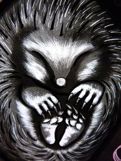 Hedgehog traditional stained glass painting, by Annette Reed.
