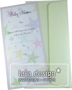 Colourful star baby shower invitation