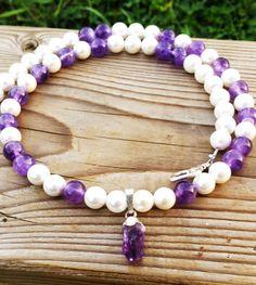 Fresh Water Pearl Amethyst Necklace Gemstones by  BohemianChicbead #pearlnecklace #tenxteam #gemstonejewelry