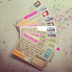 paperedthoughts: Outgoing. (late edition). this would be a cute idea of adding postcards to smash books or travel journals
