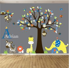 This nursery tree decal is the perfect piece of art for your childs room or playroom. It will come with all of the leaves and animals shown and you will be able to arrange them however you like.  { Decal Kit Includes }  Tree:1  Branch:1  Giraffe:1  Lion:1  Birds:8  Elephant:2  Owls:3  Zebra:1  Monogram:1  Grass:4    =================================================== Every decal set includes:   Transfer Paper Installation Instructions…
