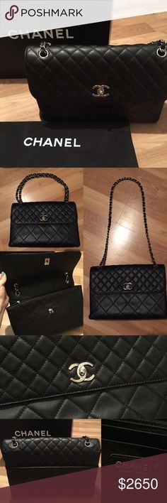 """Chanel In The Business Quilted Shoulder Bag Classic Chanel in black lambskin. Perfect for work. 12.5"""" x 8.5"""" x 3.5"""". Adjustable chain strap drops 10"""" or 17"""". 2 inside pockets and outside pocket. CHANEL Bags Shoulder Bags"""