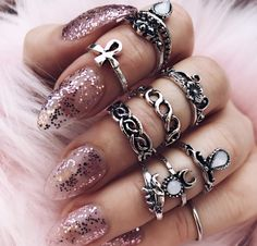 Ring stacks, faux fur and f Glitter nails  talk about inspiration