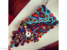 authentic peyote necklace with natural stones by incim on Etsy Peyote Patterns, Beading Patterns, Beaded Bags, Beaded Jewelry, Jewellery, Bead Loom Bracelets, Peyote Beading, Jewelry Making Tutorials, Bead Art
