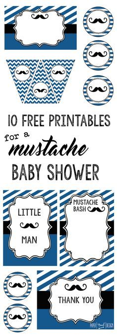 Mustache Baby Shower: Everything you need for a mustache party themed baby shower including banner, food labels, invitation, cupcake toppers, art decor print, thank you cards, and photo booth.