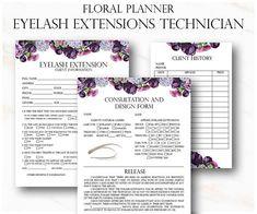 Floral Eyelash Extension Client Forms Printable Client