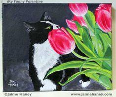 """My Funny Valentine"" Black and white tuxedo cat acrylic painting by Jaime Haney. http://jaimehaney.com/painting-15/#.UuAHFmTnby8 #cat #art #painting #tulips"