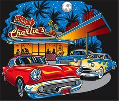 Retro Wallpaper Discover Charlies Drive In Vintage Cars Adult Unisex Quality Long Sleeve T Shirt 3896 Drive In, Ford Classic Cars, Classic Chevy Trucks, Car Illustration, Illustrations, Festa Hot Wheels, E Motor, Volkswagen Karmann Ghia, Retro Wallpaper