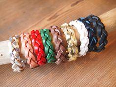 Leather braided braceletwith adjustment by SunGoddessCollars