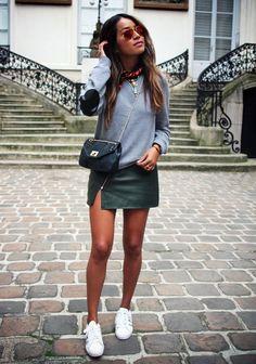 Green leather skirt w/ sweats + tennies