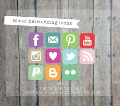 Social Media icons Social Networking Icons  Blog by PrintSmitten