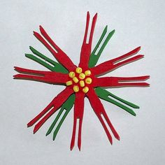 Clothespin Poinsettia Craft