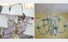 brass chandelier Mason jar makeover