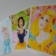 Laminas de Rapunzel, Blancanieves, Elsa de Frozen hecho por Perlina Prieta  #ilustración #perlinaprieta #laminas #ilustration #art #disneyprincess