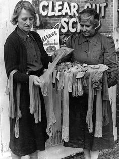 WWII - Old silk stockings collected by the WVS are used by airmen under their own socks as a additional means of keeping warm, and are also used to keep bandages clean.