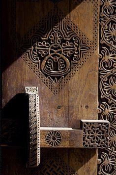 Old carved wood door