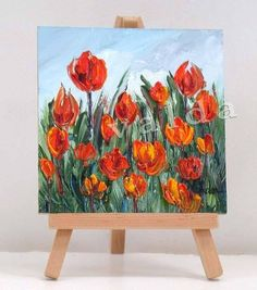 Red Tulips. 4x4 inch original miniature oil painting gift