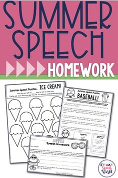 Summer Homework for speech therapy