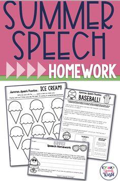 Summer Homework for speech therapy
