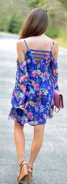 Summer 2015 Fashion Ideas - Floral Print V-Back Mini Dress Chic Shoes.