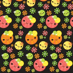 Kawaii Citrus - Black fabric by boredinc on Spoonflower - custom fabric