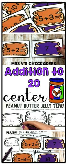Addition to 20 Center: Peanut Butter Jelly Time - Everything About Kindergarten Centers First Grade, Second Grade Math, Math Centers, Grade 1, Kindergarten Math Activities, Teaching Math, Kindergarten Checklist, Numeracy Activities, Addition Activities