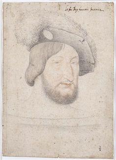 Jean Clouet (1475/1485-1540) François Ier, roi de France (1494-1547) 1524 sanguínea e carvão 27,6 x 19,7 cm Collection Catherine de Médicis musée Condé Chantilly