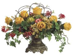 Unique floral arrangement of yellow roses berries greenery and twigs in ornate urn