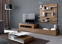 Moon Modern Wall Storage System with Shelving Choice of Lacquer or Wood