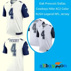 Dak Prescott Dallas Cowboys Nike XC2 Color RUSH Legend NFL Jersey -White/Navy $95.94 You know you are a true Cowboys fan! Your going to want to show off in this  Nike Dallas Cowboys Dak Prescott  Jersey Color Rush Legend By Nike.