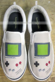 Custom Gameboy Shoes Slip-on Painted Canvas #Shoes