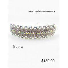 Broche para cabello con cristal en tono plateado y tornasol de 9 x 2 cm estilo 20007