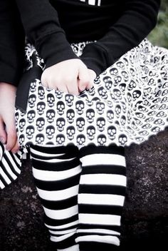 KOOL KID Arm / Leg Warmers for Baby, Toddler, Child, Tween Boy or Girl - Black and White Stripes - Fun and Functional Fashion