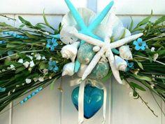 Beach Wedding Arch for Gazebo or Trellis-BEACH WEDDING DECORATION-Blue Glass Heart Wedding Decoration-Starfish Beach Wedding Decor-Shells on Etsy, $300.00 beach