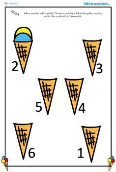 Pracovní list - zmrzlina, počítání do pěti Mathematics, Preschool, Playing Cards, Logos, Kids, Math, Young Children, Boys, Logo