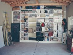 How to clean and organize your garage build free standing shelves car man cave diy storage. garage man cave accessories home decor diy storage shelves ideas Small Garage Organization, Garage Storage Shelves, Overhead Garage Storage, Garage Storage Solutions, Storage Ideas, Organization Ideas, Organized Garage, Bike Storage, Shelving Ideas